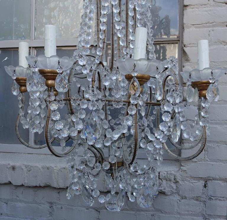 Eight-Light Italian Crystal Beaded Chandelier
