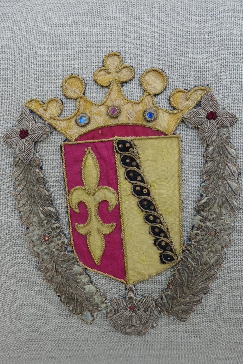 Pair of Family Crest Appliquéd Linen Pillows
