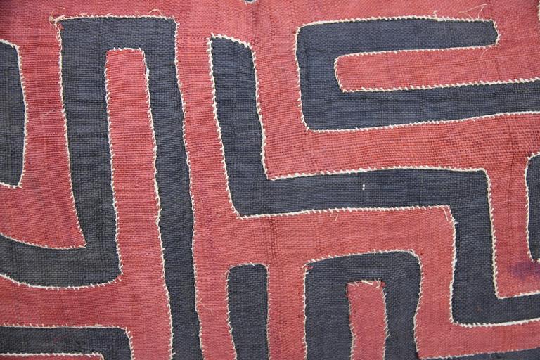Pair of Rust and Black African Kuba Cloth Pillows