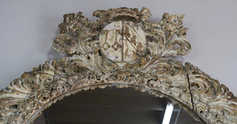 18th Century Italian Carved Painted Mirror with Royal Family Crest
