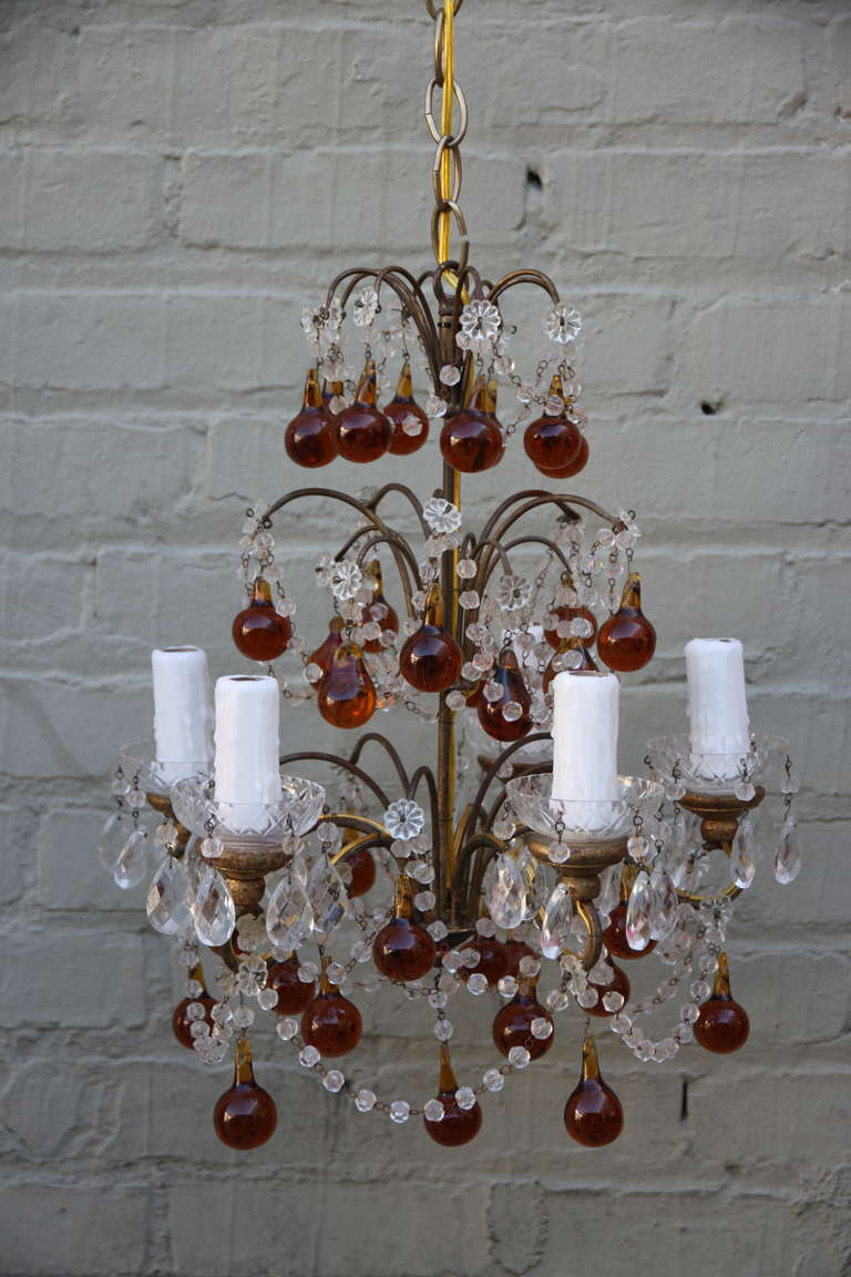 Five Light Crystal Beaded Chandelier with Anmber Drops