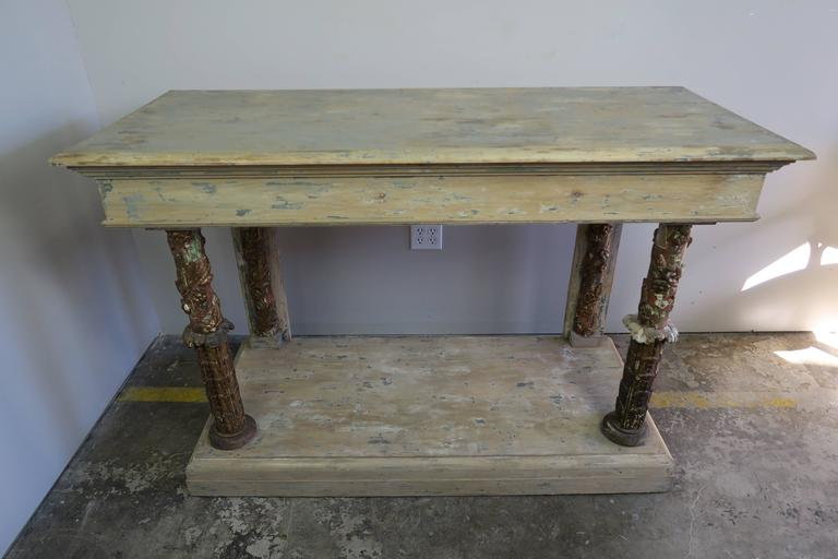 Pair of Italian Painted and Parcel-Gilt Consoles