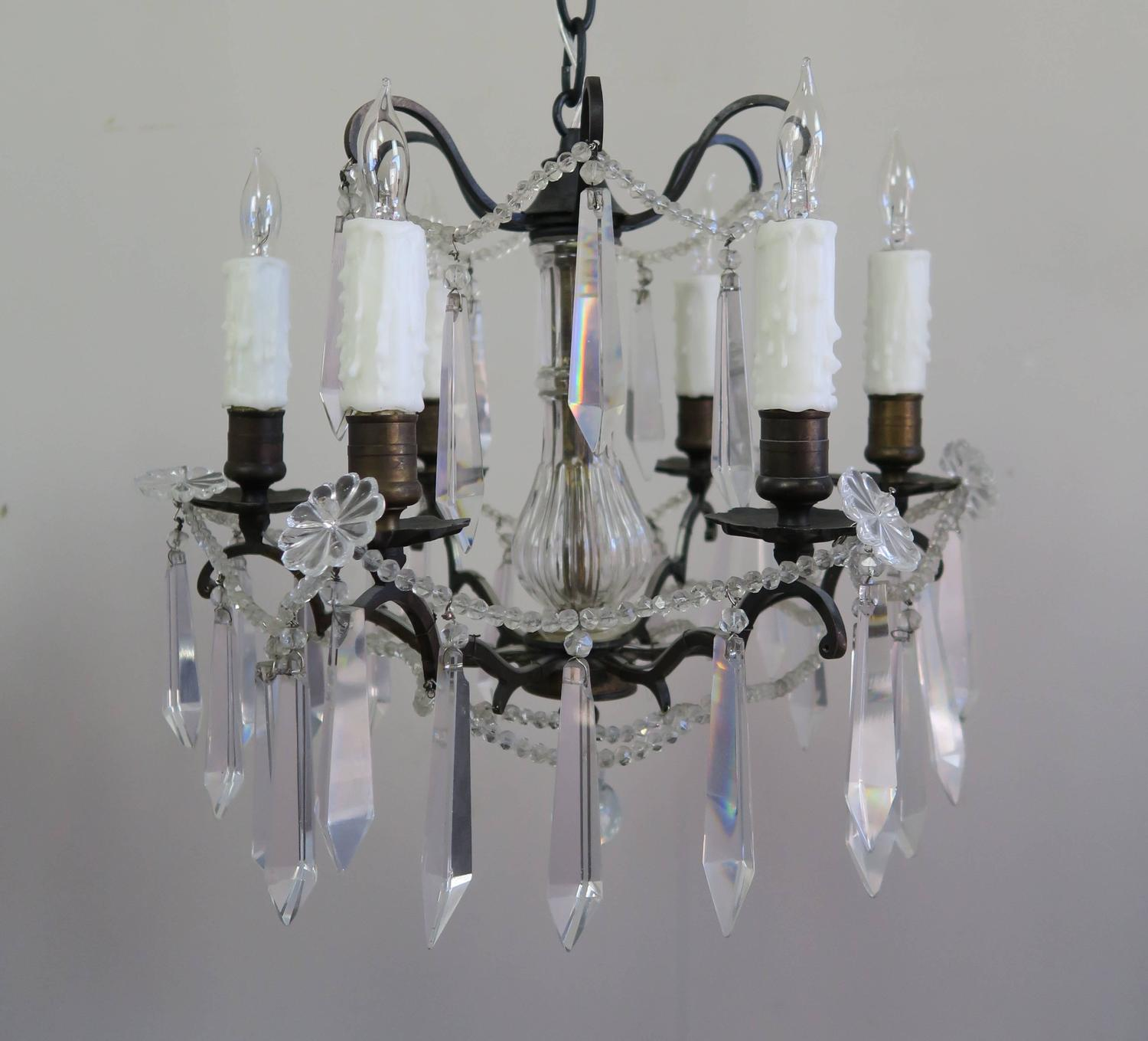Pair of French Crystal Chandeliers circa 1930