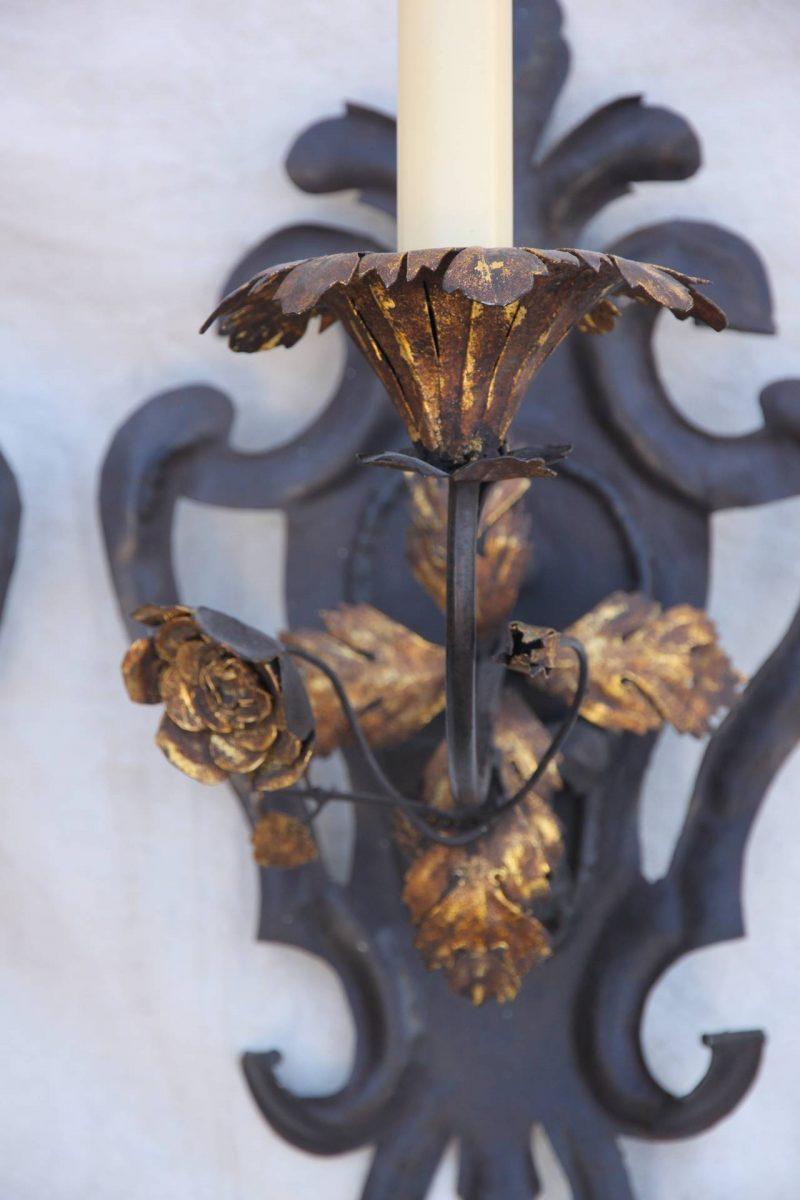 Wrought Iron Fleur De Lys Sconces with Gilt Flowers