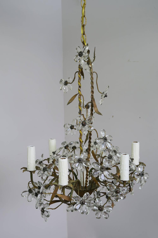 Crystal flower basket six light chandelier melissa levinson antiques crystal flower basket six light chandelier arubaitofo Choice Image