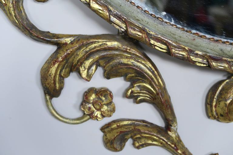 Pair of French Rococo Style Painted and Gold Leaf Mirrors