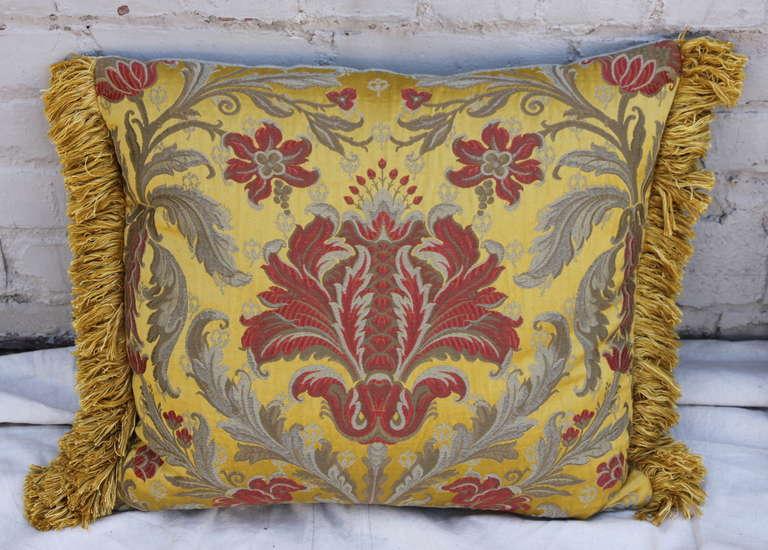 Pair of Silk Brocade Pillows with Fringe