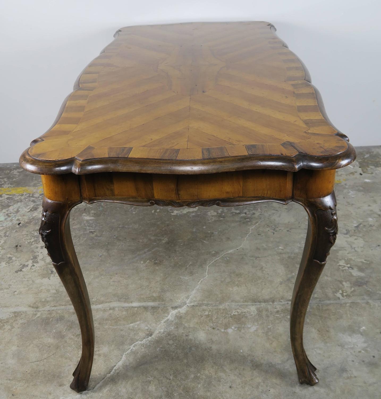 French Inlaid Walnut Veneered Writing Table circa 1900