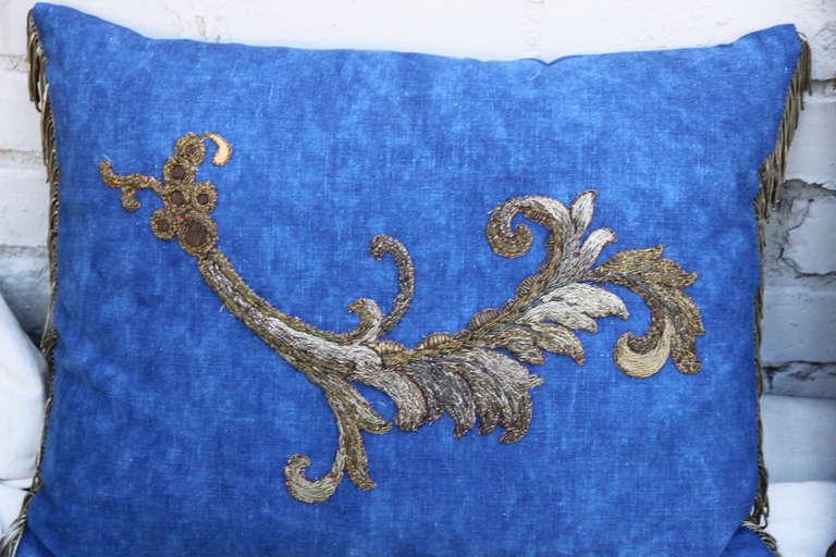 Pair of Metallic Appliqued Blue Linen Pillows