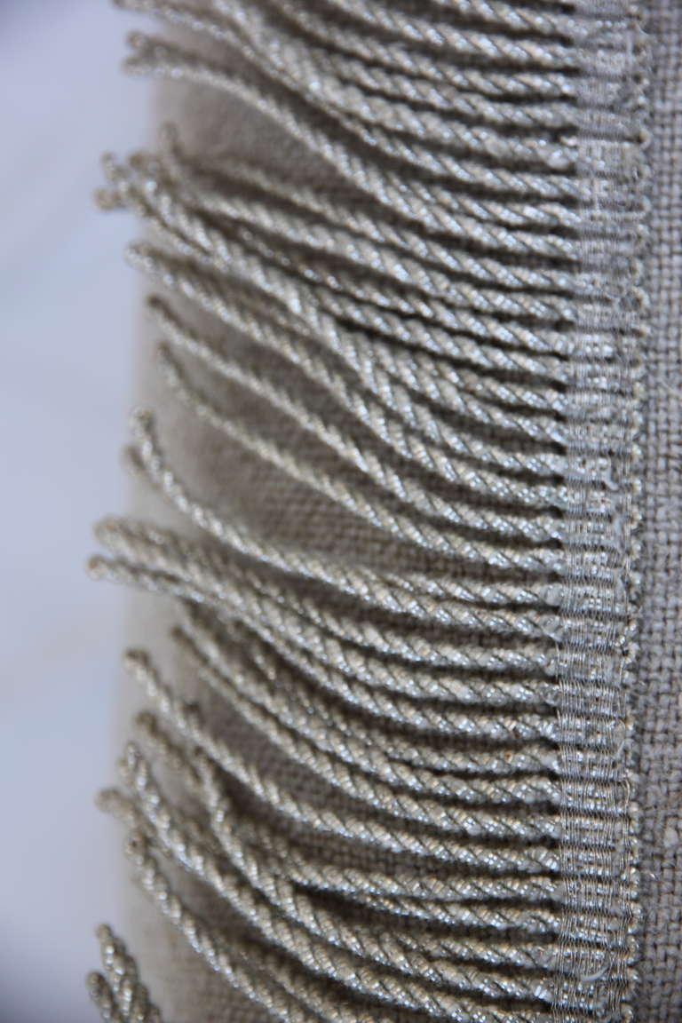 Pair of Antique Appliqued Belgium Linen Pillows
