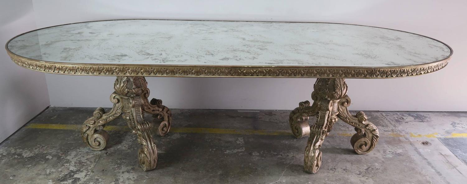 italian silvered wood dining table with mirrored top melissa italian silvered wood dining table with mirrored top
