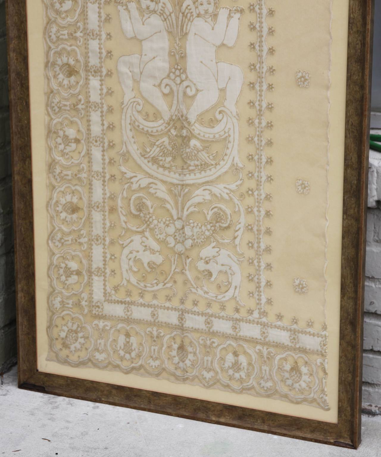 19th Century Framed Lace Panel with Cherubs | Melissa Levinson Antiques
