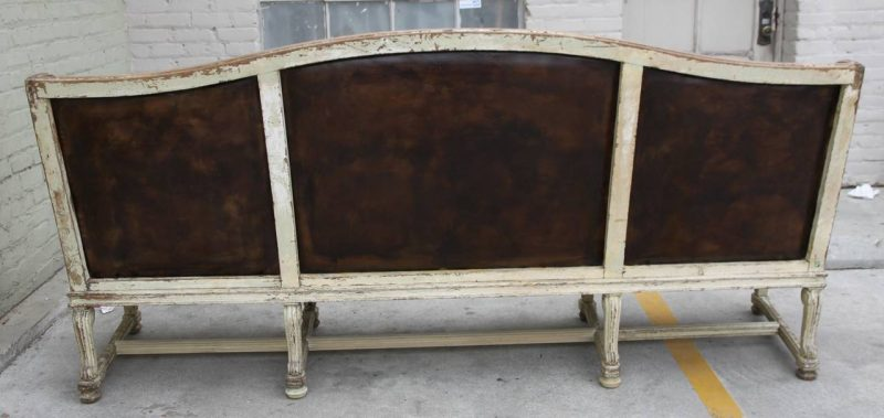 French Leather Upholstered Painted Bench