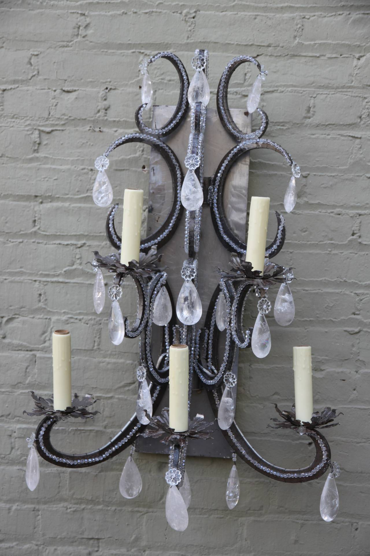 Monumental Industrial Rock Crystal Sconces