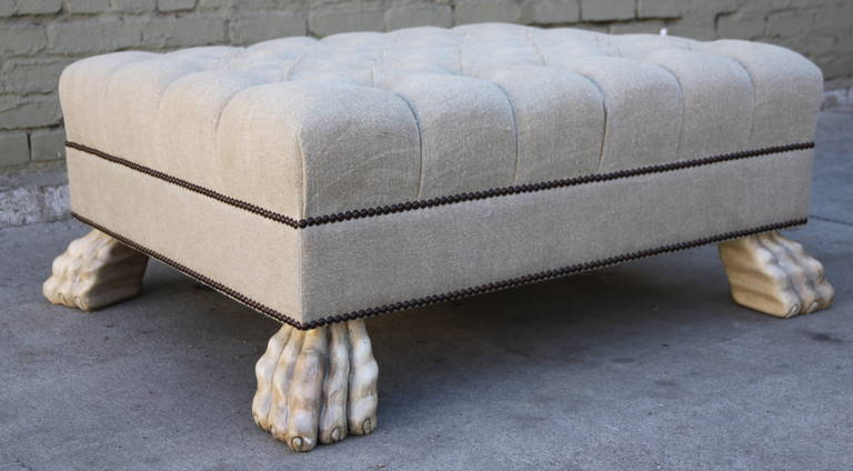 Belgium Linen Upholstered Ottoman w/ Painted Paw Feet