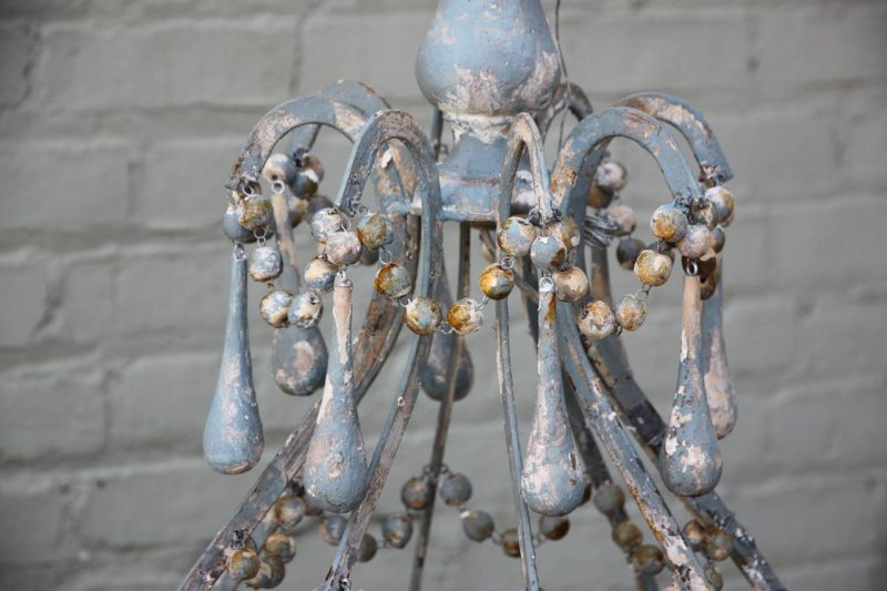 Iron and Wood Beaded Eight-Light Painted Chandelier