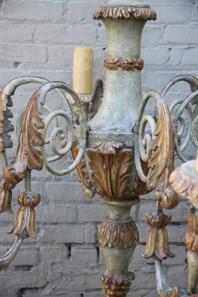 Six-Light Italian Carved Wood and Metal Chandelier