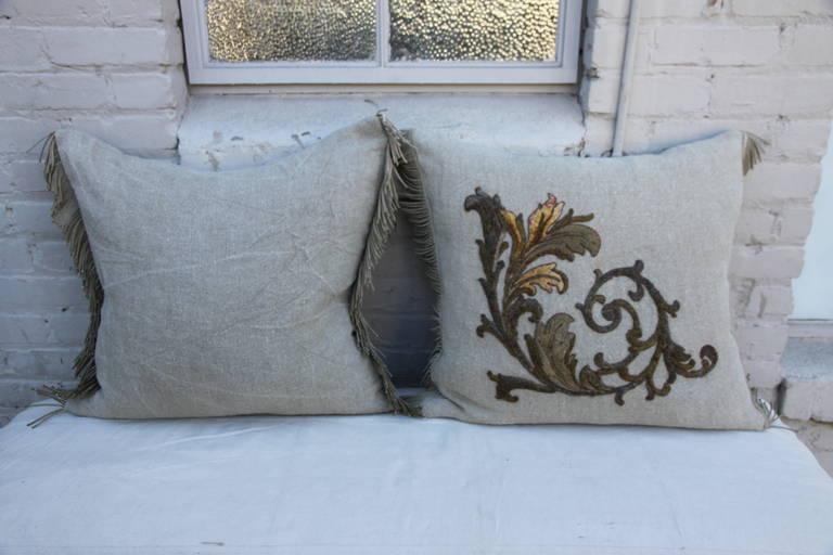 Metallic and Silk Appliqued Belgium Linen Pillows