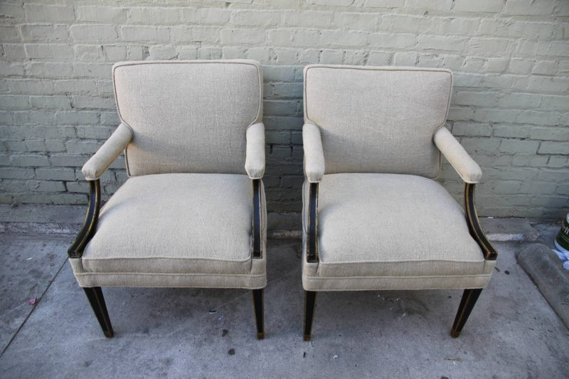 19th Century Painted & Gold Gilt Regency Style Armchairs