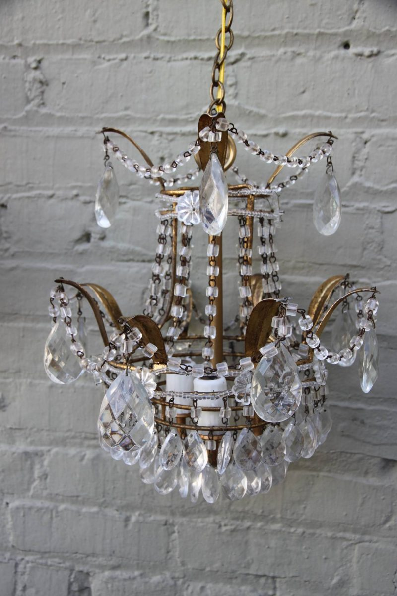 Pair of Italian Macaroni Beaded Chandelier, circa 1930s