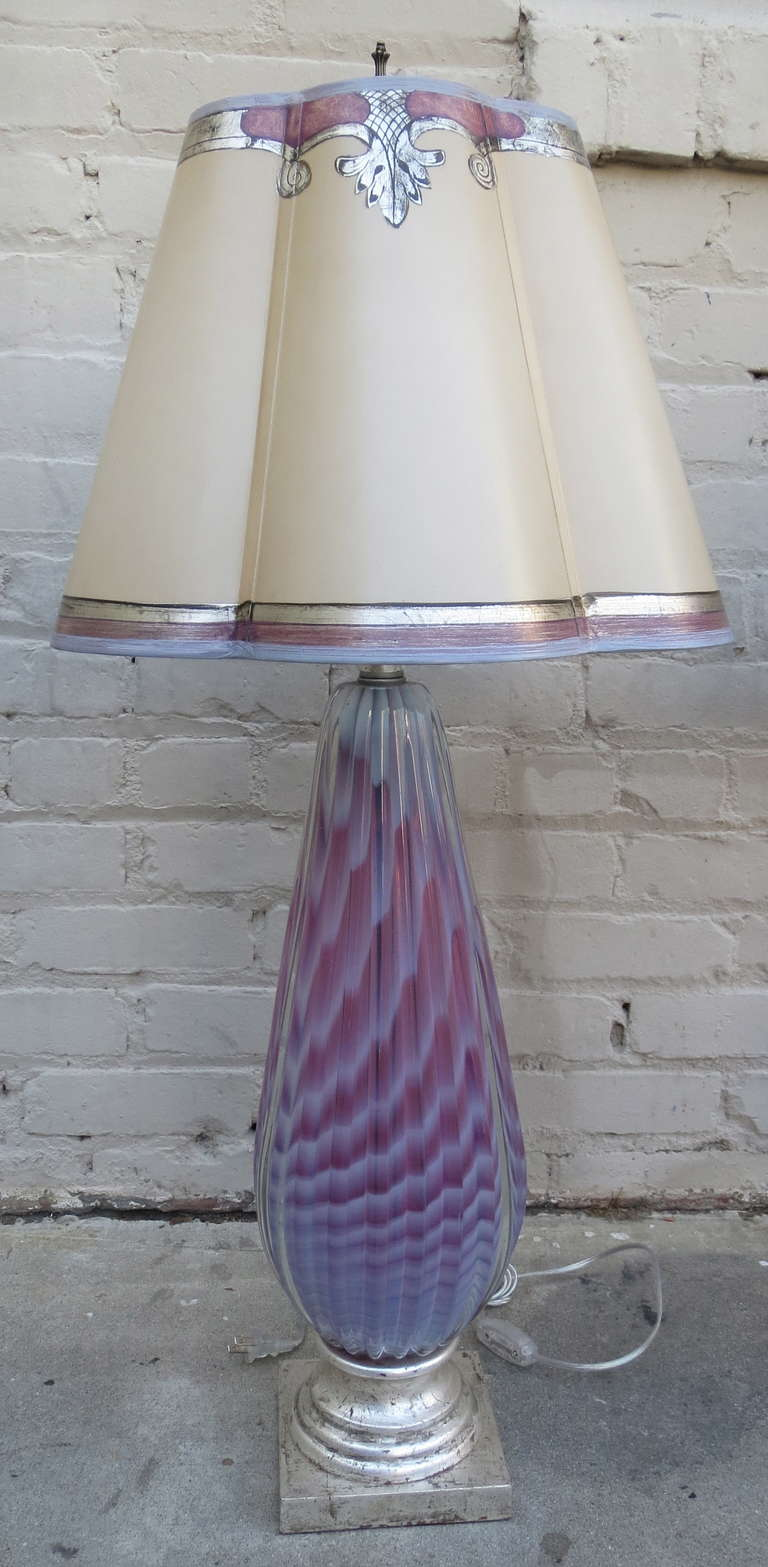 Pair of Murano Lamps with Parchment Shades