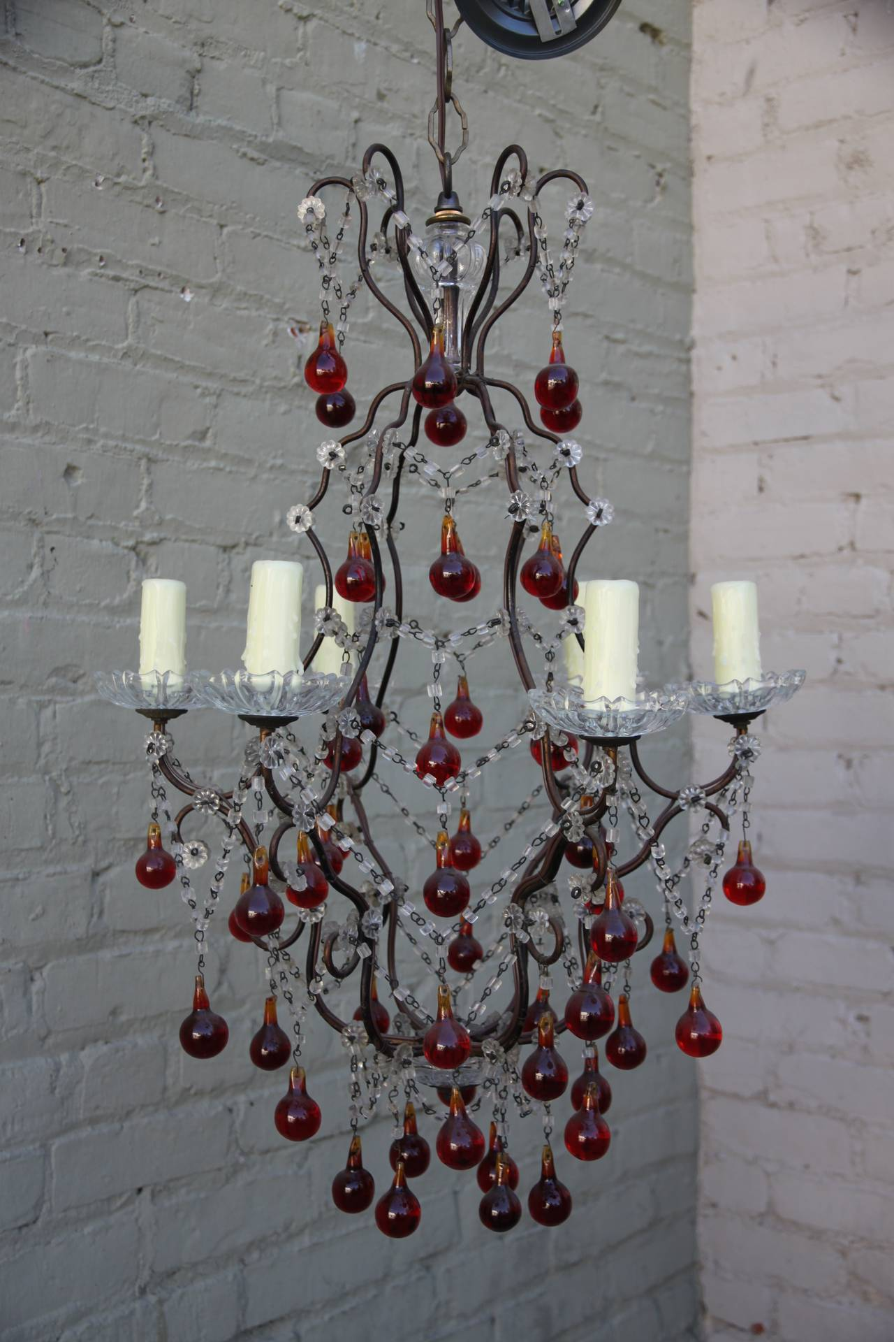 Italian red clear crystal chandelier melissa levinson antiques italian red clear crystal chandelier aloadofball Choice Image