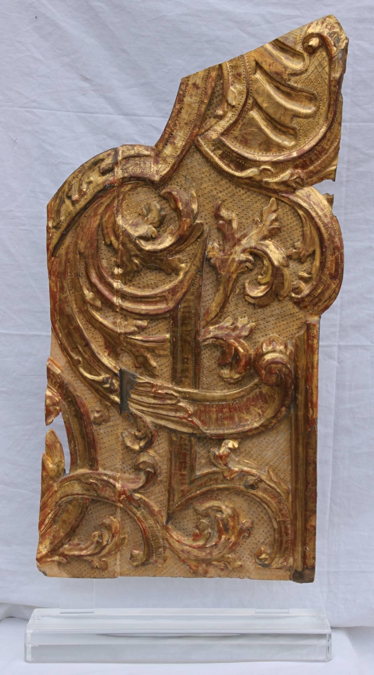 Pair of monumental italian gilt wood carvings melissa