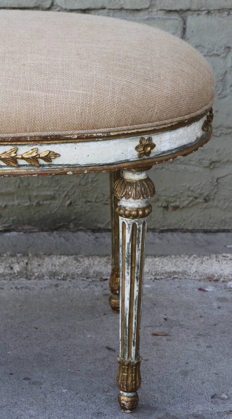 Italian Neoclassical Style Painted and Parcel-Gilt Bench
