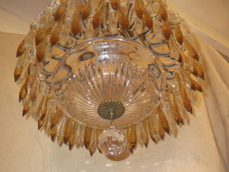 Italian Crystal Beaded Chandelier with Crystal Drops