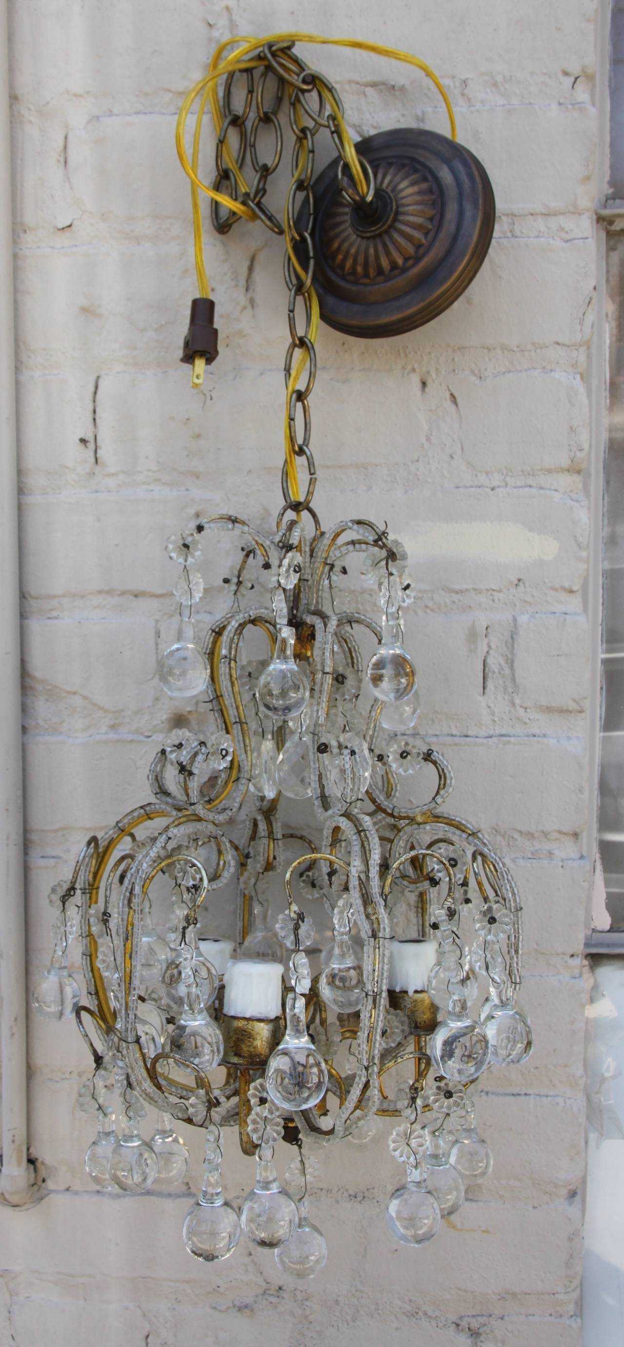 French Crystal Beaded Three Light Chandelier Melissa