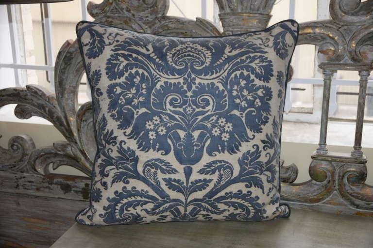 Pair of Authentic Vintage Blue Fortuny Pillows