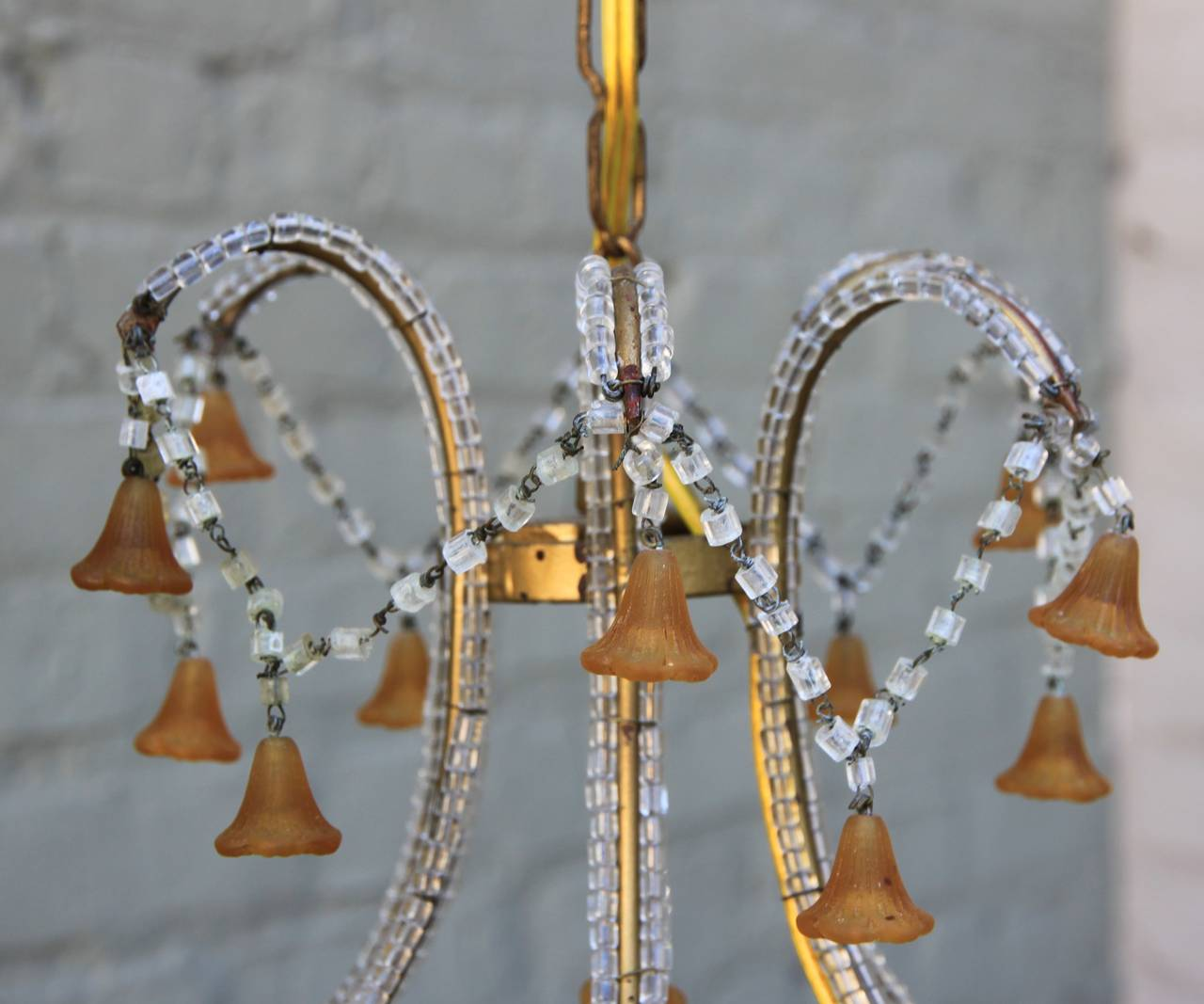Six Light Amber Colored Murano Glass Chandelier Melissa