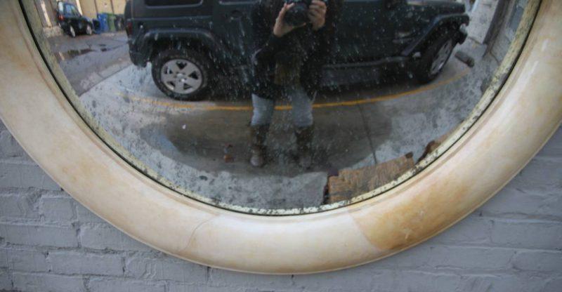 Monumental Lacquered Goatskin Mirror