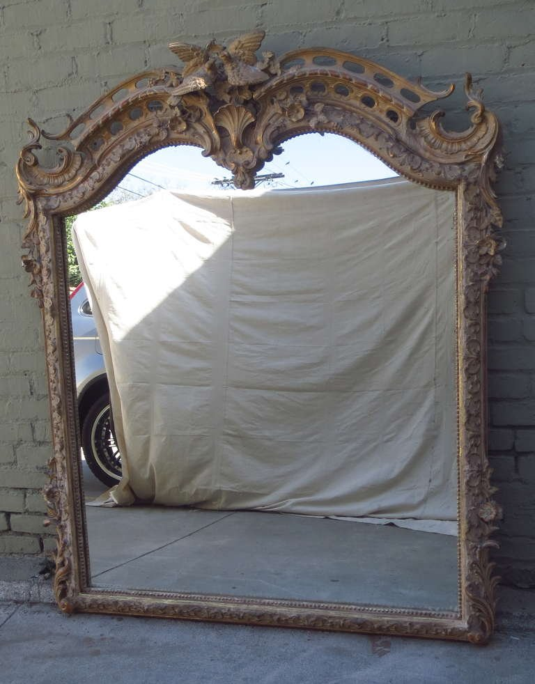 19th C. French Carved Painted & Parcel Gilt Mirror