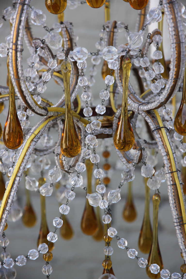 Italian amber drops and crystal chandelier circa 1930s melissa italian amber drops and crystal chandelier circa 1930s aloadofball Gallery