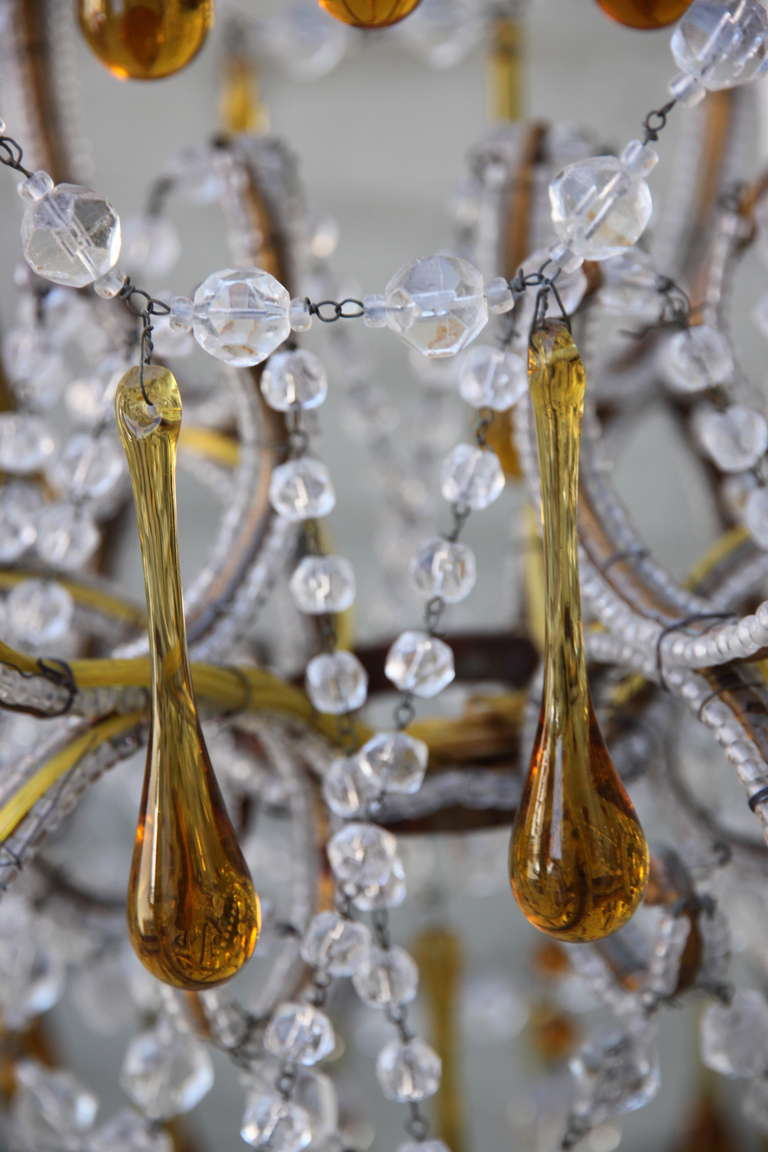 Italian Amber Drops and Crystal Chandelier circa 1930s