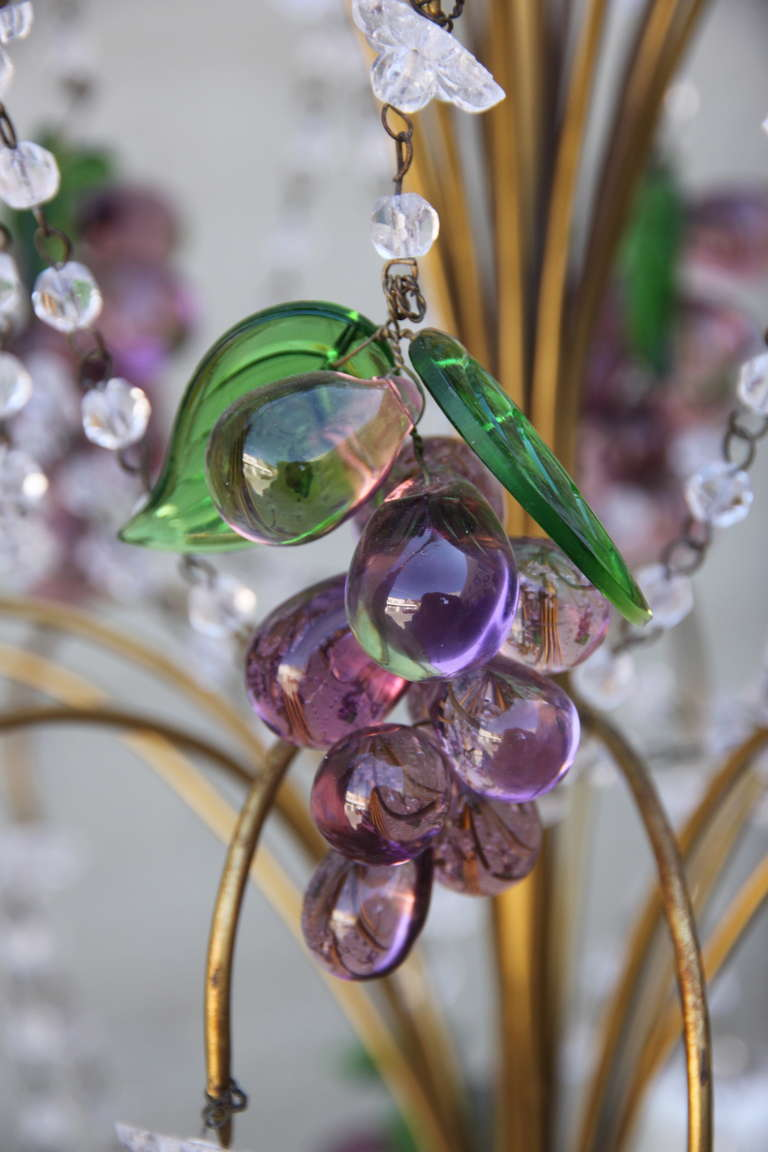 Six Light French Beaded Grape Chandelier