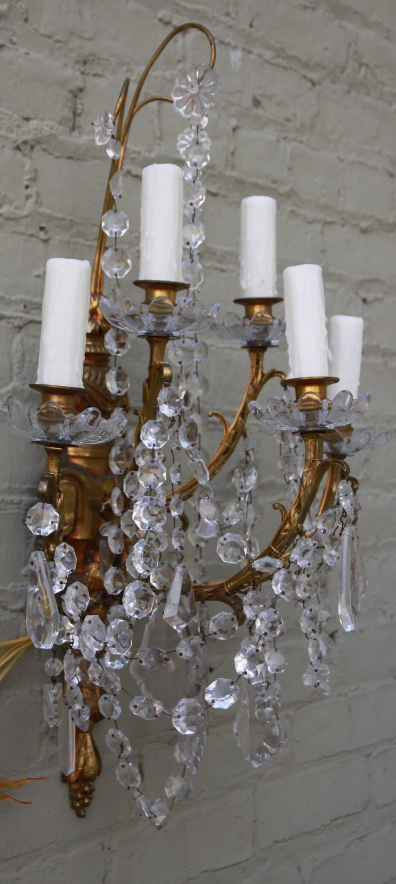 19th Century French Crystal Sconces