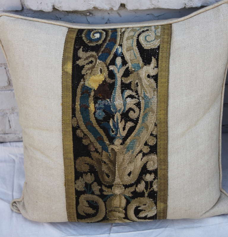 Pair of 18th Century French Tapestry Pillows on Linen Textile