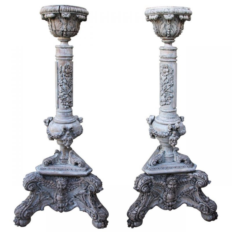 Pair of Heavily Carved Italian Cherub Torchieres