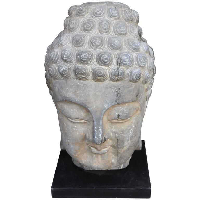 Antique Sandstone Buddha on Steel Base