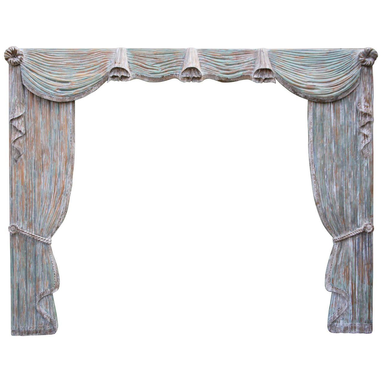 French Hand-Carved Painted Wood Drapery Panels with Valence