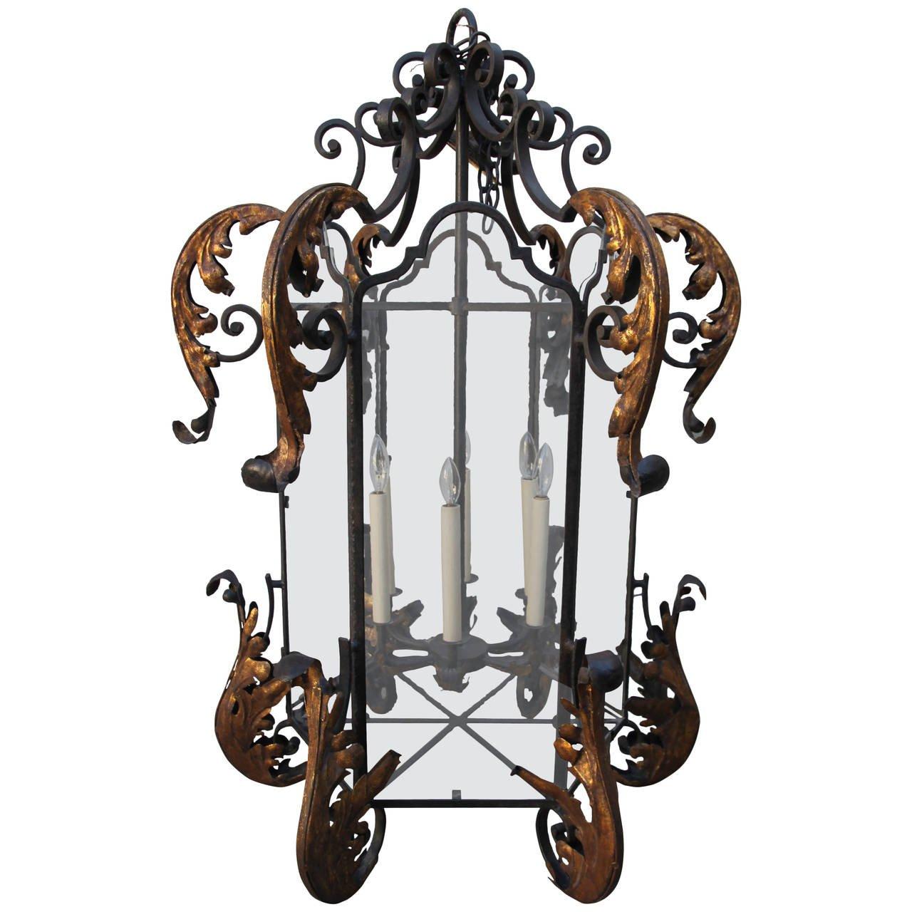 Monumental hand wrought iron lantern melissa levinson antiques monumental hand wrought iron lantern aloadofball Image collections