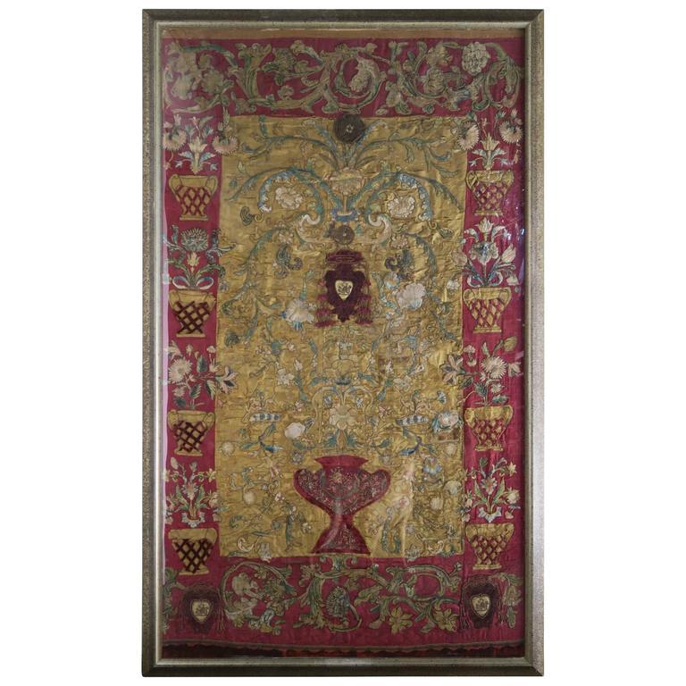 17th Century Italian Silk Framed Textile | Melissa Levinson Antiques