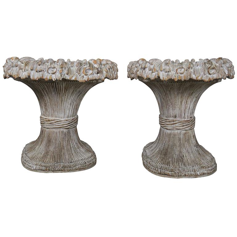 French Carved Painted Harvest Wheat Planters, Pair