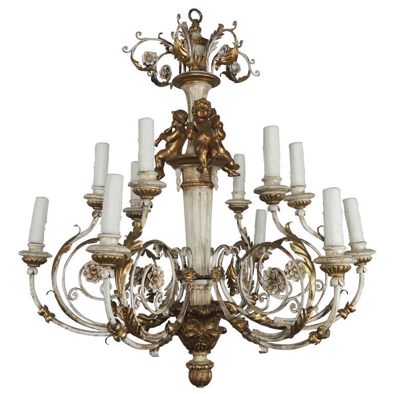 Italian twelve light rococo style cherub chandelier melissa italian twelve light rococo style cherub chandelier mozeypictures Gallery