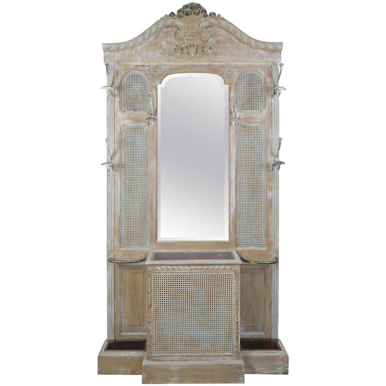 French Painted Louis XV Style Coat Rack with Planter
