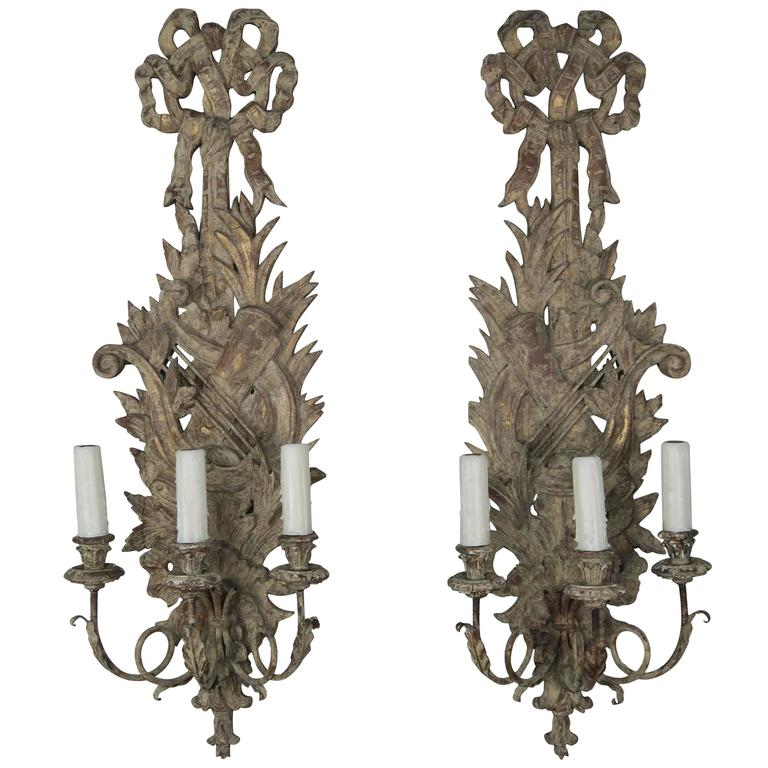 Pair of French Carved Wood Sconces, circa 1920