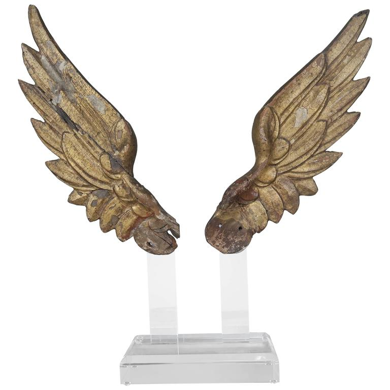Pair of 19th Century Giltwood Wings on Lucite Base