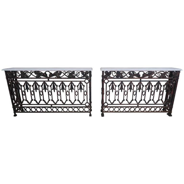 Pair of Wrought Iron Consoles with Carrara Marble Tops